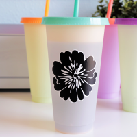 color changing straw cup with layered vinyl